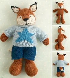 Ravelry: Boy fox in a star spangled sweater pattern by Little Cotton Rabbits