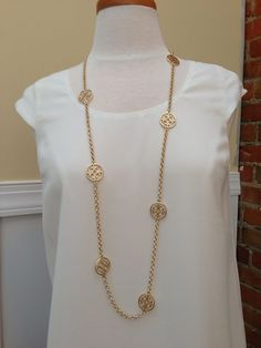 Tory Burch Inspired Medallion Necklace $25 www.honeyandhiveboutique.com