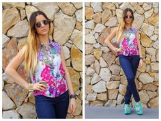 ♥ LOOK OF THE DAY 05-10-2012 ♥  ♥ Camisa sin Mangas Hawaiian  ♥ Blue Jegging  ♥ Saona Birken Sandals Acqua
