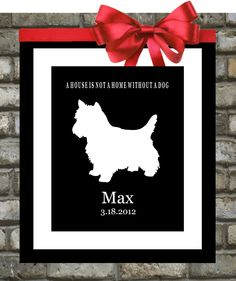 Custom Dog Silhouette. Pets. ANY Animal Print. Unique Gifts. Personalized Pet Portrait. Puppy Dog Art.  A Home Is Not A Home Without A Dog. $18.99, via Etsy.
