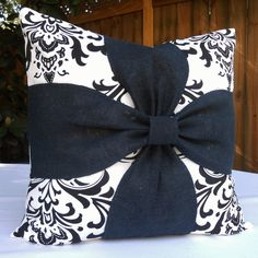 Burlap Bow Black & White Damask pillow cover 18x18