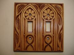 Hand carved double electric switch cover plate by creativemind44, $32.00