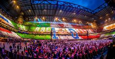 'We Are Family' sign made by the Directioners in the audience for One Direction and their Where We Are Tour live concert film - Milan, Italy (San Siro Stadium) -- 6-28-14-6-29-14