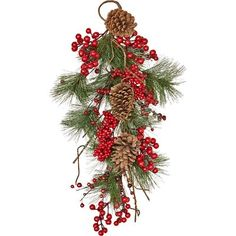 The Holiday Aisle Weatherproof Berry, Pinecone, Pine Teardrop Christmas Swags, Christmas Tree Farm, Cozy Christmas, Rustic Christmas, Christmas Decorations, Christmas Ornaments, Christmas Ideas, Christmas Crafts, Church Decorations