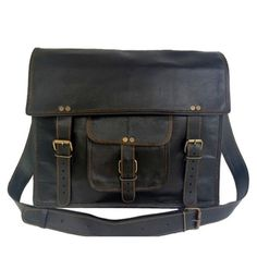 """Black Goat Leather Briefcase 15"""""""