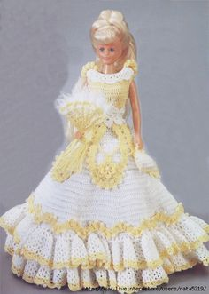 Simple white and yellow dress for Barbie with diagram