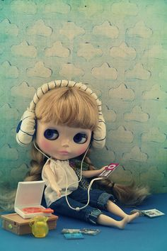 Blythe listening to music.