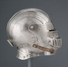 Visored Sallet made of steel, brass and leather. Made about either in Southern Germany or Austria. In the collection of The Philadelphia Museum of Art Medieval Helmets, Medieval Armor, Thirty Years' War, Early Modern Period, Knights Helmet, Landsknecht, Philadelphia Museum Of Art, Renaissance Art, 16th Century