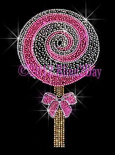 Large Pink Lollipop - Iron on Rhinestone Transfer Hot Fix Bling Lolly Pop Candy - DIY