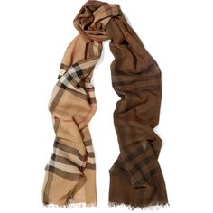 Burberry Checked wool and silk blend scarf (18.895 RUB) ❤ liked on Polyvore featuring accessories, scarves, camel, woolen shawl, lightweight scarves, wool scarves, multi colored scarves and lightweight shawl