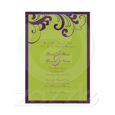 Purple and Green Swirls Frame Wedding Invitation from Zazzle.com