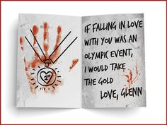 "Glenn Rhee | 15 Valentine's Day Cards Written By ""The Walking Dead"" Characters"