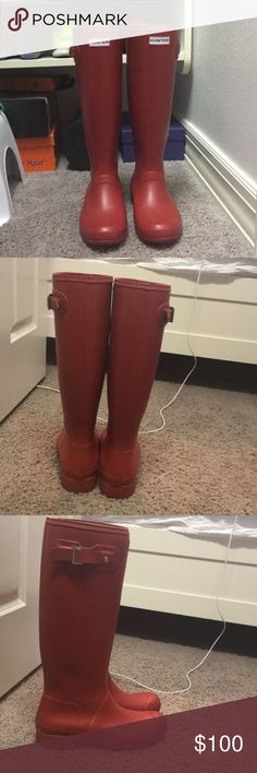 Red Hunter Boots Tall red Hunter rain boots, they are the foldable style so you can easily pack them in a suitcase (soft rubber). Very comfortable, like new condition (they look brand new, no wear and tear). Comes with original box. Hunter Shoes Winter & Rain Boots