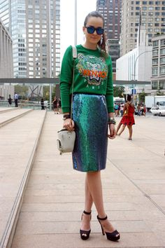 NY Fashion Week: Street style...Sequin skirt with Kenzo sweater love this