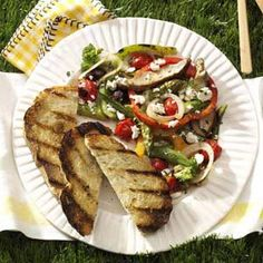 """Marvelous Mediterranean Vegetables -""""With so many barbecues in the summer, I created this simple, tasty dish to complement any entree. I like to prepare it earlier in the day and let it marinate, then I just throw it on the grill. Grilled Vegetable Recipes, Grilled Vegetables, Grilling Recipes, Cooking Recipes, Healthy Recipes, Grilling Tips, Savoury Recipes, Easy Recipes, Vegetarian Recipes"""