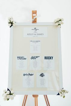 For a personal touch to your reception seating chart, name your tables after you and your fiance's favorite movies! Harry Potter, James Bond... the possibilities are endless. {Kelsie Low Photography}