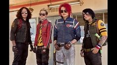 Photoshoot: My Chemical Romance, Danger Days-era (as Killjoys). Ray Toro/Jet Star, Mikey Way/Kobra Kid, Gerard Way/Party Poison, Frank Iero/Fun Ghoul.