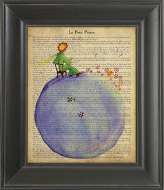 The Little Prince sitting on the earth -  Printed on The Little Prince  page  -  250Gram paper.. $7.00, via Etsy.