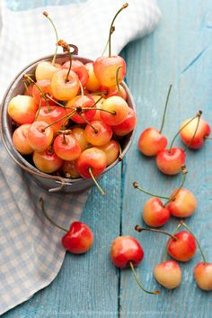 Sweet, glorious Rainier cherries! Links to a recipe for cherry clafoutis.