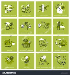 Set Of Thin Line Icons Of Environment, Renewable Energy, Sustainable Technology, Recycling, Ecology Solutions. Premium Quality Icons For Website, Mobile Website And App Design. Стоковая векторная иллюстрация 391213390 : Shutterstock