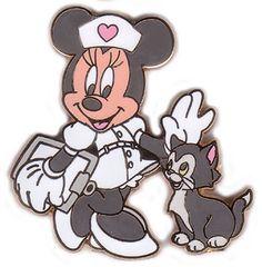 pin, minnie as nurse + figaro