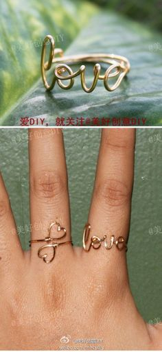 DIY jewellery wire rings with writing and words.