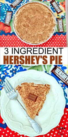 This no-bake 3 Ingredient Hershey's Chocolate Pie is the perfect dessert to make when you are in a hurry or just don't want to spend a lot of time making a complicated dessert. Delicious and full of chocolate flavor! Hershey Chocolate Pie, Chocolate Pie Crust, Chocolate Pies, Chocolate Flavors, Quick Dessert Recipes, Desserts To Make, Köstliche Desserts, Delicious Desserts, Tart Recipes