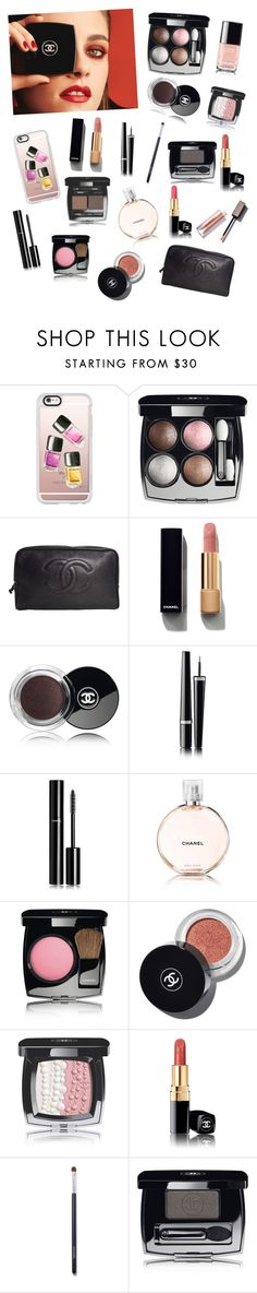 """""""Chanel Makeup"""" by tessasantelli ❤ liked on Polyvore featuring beauty, Chanel, Casetify, contestentry, PVStyleInsiderContest and makeupbagstaples"""