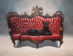 Katso minua/Look at me. x Acrylic and oil on canvas by Samuli Heimonen Finland Macabre Art, Pop Surrealism, Rococo, Animal Paintings, Black Panther, Cat Art, Oil On Canvas, Love Seat, Sculptures