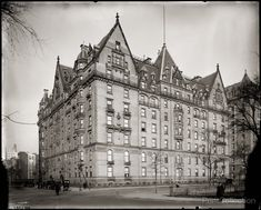 World famous New York City apartment house the Dakota photographed around 1910 by the Detroit Publishing Company on 8x10 glass plate negative.