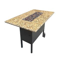 The high bar fire pit table will elevate your dining experience to the next level. Saint Cecilia Granite, Gas Fire Pit Table, Steel Frame Construction, Granite Tops, Thing 1, Backyard Patio, Outdoor Dining, Bar, Furniture