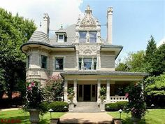 Romanesque Victorian mansion Victorian Style Homes, Victorian Cottage, Victorian Gothic, Victorian Architecture, Historical Architecture, Amazing Architecture, Mosaic Fireplace, Romanesque, Old House Dreams