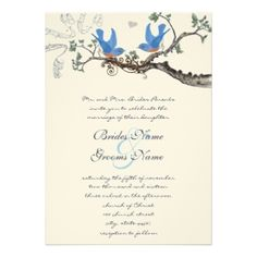 Vintage Bluebirds Wedding Invitations invitation