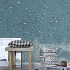 A wallpaper for the ceiling. Straight up. What else? This is an amazing illustration of the northern hemisphere's star map anno 1869. Illustrated constellations rest against an unimaginably beautiful, blue-toned background. Would you dare?