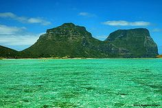 Aquamarine Water on Lord Howe Island Lagoon, Mt Lidgbird,  Mt Gower & the Tip of Blackburn Island, NSW