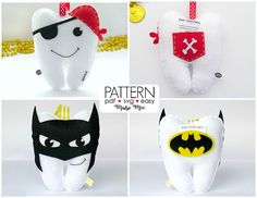 Hand Embroidery For Beginners Batman Tooth Pillow, Tooth Fairy Pillow, Sewing Basics, Sewing For Beginners, Felt Crafts Patterns, Sewing Patterns, Pillow Patterns, Batman Pillow, Teeth Shape