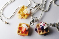 Waffle Best Friend Necklaces, MIniature Food Jewelry, Friendship necklaces. $30.00, via Etsy.
