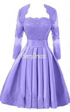 Lavender Glamorous A Line Strapless Satin Knee Length Appliques Lace Bridesmaid Dress