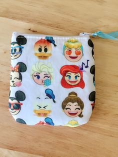 Disney emoji zipper pouch, small coin purse, makeup bag, wristlet, Choose your style! by PopThree on Etsy https://www.etsy.com/listing/500921827/disney-emoji-zipper-pouch-small-coin