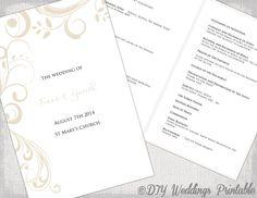 "Catholic Wedding program template Champagne ""Scroll"" DIY printable order of ceremony booklet Pale ecru program templates download by diyweddingsprintable on Etsy https://www.etsy.com/listing/186077758/catholic-wedding-program-template"