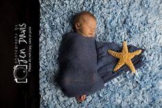 newborn, baby, poses, nautical theme, props, starfish