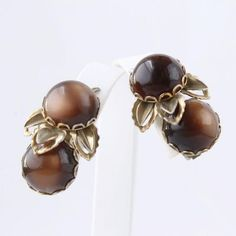 The Vintage Village - View Classified - Brown Moonglow Lucite Ear Climber Clip Earrings