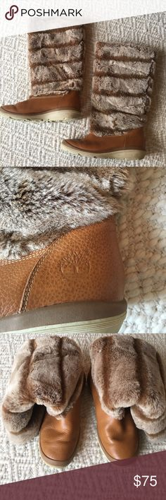 TIMBERLAND BOOTS WOMENS SIZE 7 TIMBERLAND BOOTS WOMENS SIZE 7. Faux fur tan/brown colors.  A few minor (very minor) scuffs but hardly noticeable.  Sole of shoes show some wear....but still a nice looking shoe!  Super comfortable! GREAT CONDITION!!! Timberland Shoes