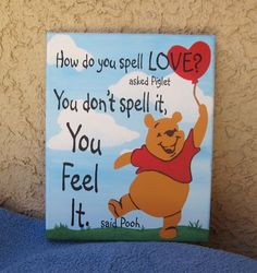 Nursery Pooh Feel Love 16 x 20 Original Hand Painted Wall Art Canvas Quote