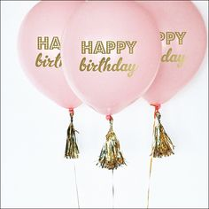 Pink & Gold Happy Birthday Balloons Set Of 6