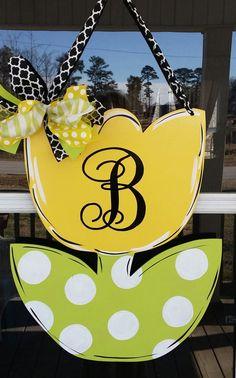 Door decorationMonogrammed Spring tulip door by Thepolkadotteddoor