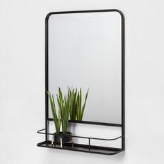 Pharmacy Mirror With Metal Shelf Black - Threshold™ : Target Small Bathroom, Master Bathroom, Bathroom Plants, Bathroom Mirror With Shelf, Bathroom Mirrors, Basement Bathroom, Bathroom Black, Mirror Shelves, Bathroom Beadboard