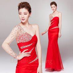 Luxurious One Shoulder Beaded Long Sleeve  by Dainanaweddingitems, $288.00