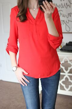 Fix 4/6- I loved everything in her March fix (except the pink pants). Love this red top with the buttons on back (maybe coral color or teal or navy? Instead of red?)