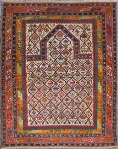 "KEIVAN WOVEN ARTS,   Type :Shirvan Origin :Caucasus  Size : 3'9""x4'10""  Circa :1880"